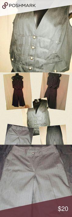 2 Piece Pants & Vest Off black pip strip style capri & vest set Together Other