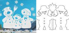 Трафареты для вырезания снеговиков из бумаги