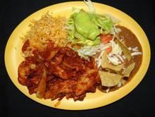 Chicken Picado Combo:Chopped chicken cooked with grilled onions, tomato, in chile rojo sauce. Served with rice and beans  from Pico Pica Rico Restaurant in Los Angeles #Food #Chicken #Restaurant forked.com