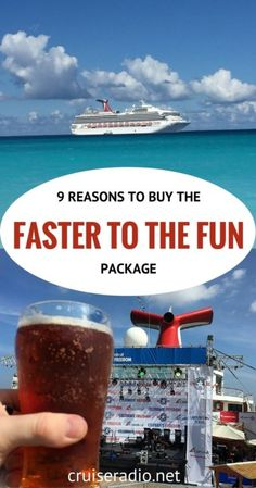 9 Reasons to purchase Carnival Cruises faster to the fun excursion. This is not really an excursion but gets you on the cruise ship faster. Cruise Travel, Cruise Vacation, Vacation Trips, Vacation Travel, Vacation Ideas, Disney Cruise, Cruise Wear, Texas Travel, Baja Cruise
