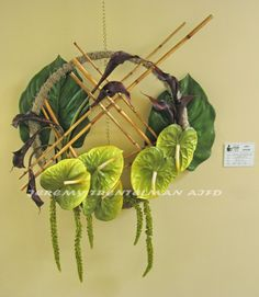 """""""Medicine Man"""" This piece is mounted on a re-purposed barrel ring covered in spanish moss. The floral is attached with a bamboo armature and includes anthurium, calla lilies, hanging amaranthus and tropical foliage Flower Structure, Epiphyte, Tropical, Spanish Moss, Plant Art, Arte Floral, Calla Lily, Floral Arrangements, Flower Arrangement"""
