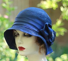 Midnight Blue Evening Cloche Hat Vintage Style
