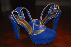 Candie's Blue and Gold ankle strap heels Size 9.5 #Candies #PlatformsWedges