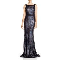Badgley Mischka Sleeveless Sequin Gown ($795) ❤ liked on Polyvore featuring dresses, gowns, sequin gown, sequin evening gown, badgley mischka evening gowns, sequin ball gown and no sleeve dress