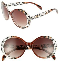 42e15918d Steve Madden 50mm Animal Print Oval Sunglasses on shopstyle.com Animal  Print Fashion, Leopard