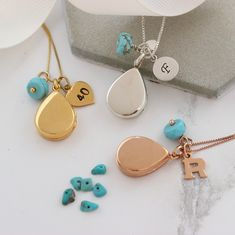 Beautiful polished sterling silver, rose gold or gold teardrop locket necklace personalised with letter charm and birthstone, add a secret message or image to create sentimental gift for a loved one Turquoise Birthstone, Turquoise Gemstone, Turquoise Jewellery, Birthstone Charms, Birthstone Necklace, Locket Necklace, Or Rose, Rose Gold, Letter Charms