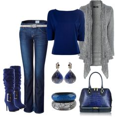 """""""Blue and Silver"""" by lisamoran on Polyvore"""