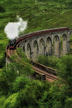 Scotland.The Jacobite crossing Glenfinnan Viaduct by Ann