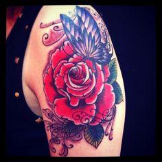 #butterfly #rose #reikotattoo #tattoo