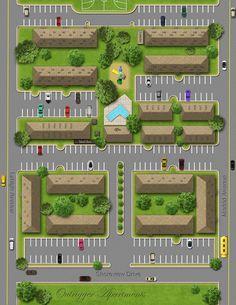 3D Site Plans drawing 5 exemple Car Park Design, Parking Design, Site Plan Design, Home Design Plans, Landscape Design Plans, Landscape Architecture Design, Parking Plan, Site Plan Drawing, Cluster House
