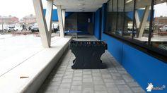 Tafelvoetbaltafel van beton Antraciet bij SBSO Ter Zee in Oostende