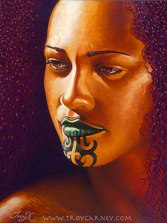 Maori woman by Ngaronoa Mereana Taki Moko Messages Every Moko, contain ancestral/tribal messages that pertain to the wearer. These mess. Maori Tattoos, Maori Face Tattoo, Hawaiianisches Tattoo, Samoan Tattoo, New Zealand Tattoo, New Zealand Art, Maori Designs, Hawaiian Art, Hawaiian Tattoo