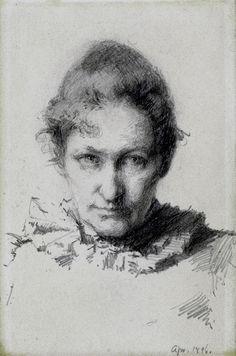 Self Portrait by Minerva Josephine Chapman (1858 - 1947), 1896--graphite drawing