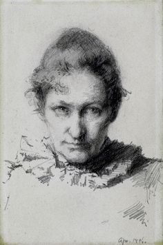 Self Portrait by Minerva Josephine Chapman (1858 - 1947), 1896--graphite drawing