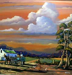 Africa Painting, South African Artists, Cottage Art, Landscape Paintings, Landscapes, Beautiful Artwork, Canvas Frame, Abstract Art, Veronica