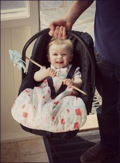 """Hooray! A comfy sleep sack that actually works with car seats and strollers, thanks to it's clever """"travel opening"""" which makes it easy to use with a 5-point harness."""