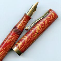 Waterman 94 Pen in Rose Ripple, Flexible Nib, 9ct Gold Band, Striking Colour, NR