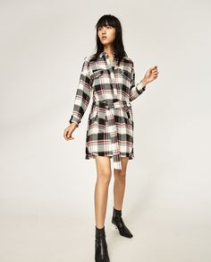 Image 1 of FRAYED CHECK TUNIC from Zara