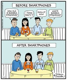 In this comic, Maria Scrivan illustrates how dinner parties lost a lot of flavor after smartphones became popular.