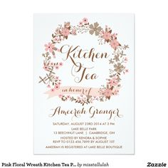 Pink Floral Wreath Kitchen Tea Party Invitation