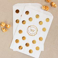 Personalized Wedding Metallic Foil Pattern Goodie Bags