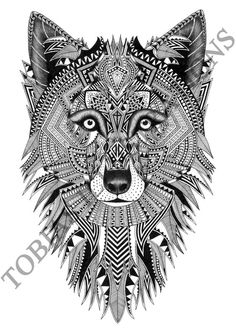 ' Wolf Zentangle Artwork by Tobias Illustrations Sold by Tobias Illustrations. Dispatched by Illustrate. Fox Coloring Page, Animal Coloring Pages, Cool Art Drawings, Art Drawings Sketches, Tribal Wolf Tattoo, Stag Tattoo, Hemlock Grove, Texture Art, Mandala Art