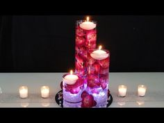 Learn how to make a floating candle centerpiece for your wedding. Making a DIY Wedding Centerpiece is easy! This DIY submersible centerpiece is gorgeous, wit. Floating Candle Centerpieces, Diy Centerpieces, Pillar Candles, Hanging Candles, Light Up The Candle, Jasmin Party, Mason Jar Candle Holders, Floating Flowers, Diy Wedding