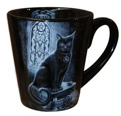 Spiral - Boxed Coffee Mug - Black Witch Cat