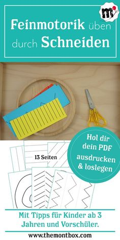 Montessori-inspired fine motor exercise: Montessori-inspirierte Feinmotorikübung: Schneiden Your PDF for meaningful employment for your child. For children from approx. 3 years of age – with tips for preschoolers too, children will be fit for school. Montessori Pdf, Frases Montessori, Maria Montessori, Kindergarten Activities, Family Activities, Preschool, Motor Activities, Toddler Activities, Infant Activities