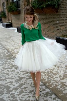 Ivory tulle skirt, DIY, anthropologie, glitter pumps, holiday outfit