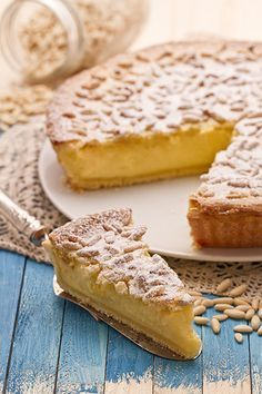 """La torta della nonna"" An absolute delicious simple dessert! First had in Florence! Fortunate to have a recipe to recreate this favorite classic! Italian Desserts, Just Desserts, Italian Recipes, Delicious Desserts, Dessert Recipes, Italian Dishes, Wine Recipes, Cooking Recipes, Sweet Pie"