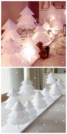 Paper Doily Crafts, Doilies Crafts, Paper Doilies, Diy Paper, Flocked Christmas Trees, Diy Christmas Tree, Christmas Paper, Christmas Decorations, Table Decorations