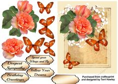 This is beautiful 3D decoupage card front, can be used  for many reasons, not just for birthdays, as their are5 different labels, one is blank for your own words, then you have Birthday Greetings, Deepest Sympathy, Spread your wings and fly,and Follow Your Dreams. It also comes in 2 different colours,  orange tones, and pink tones.   When finished
