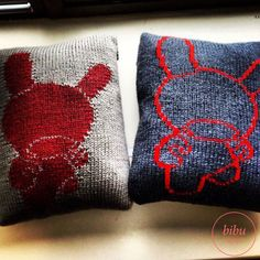 #Dunny patterned handknitted #pillow by bibu atelier