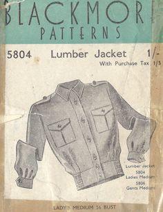 Details about 1940s WW2 Vintage Sewing Pattern B36 LUMBER JACKET LADIES (1361)