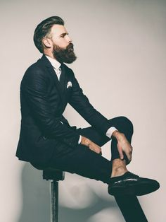 Tartan suit, rolled up trousers, brogues & beard. #mens #style #london