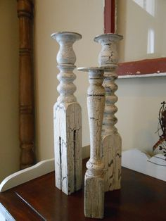 Vintage Spindle Candle Holders by PurpleArmadillo2 on Etsy, $28.00