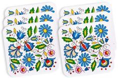 Zestaw na ludowo - podkładki pod szklanki - białe w kwiaty kaszubskie