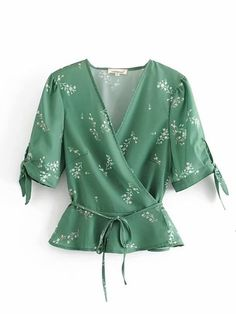 Product name: Ditsy Floral Belted Wrap Blouse at SHEIN, Category: Blouses Ditsy Floral, Floral Tops, Floral Blouse, Blouse Styles, Blouse Designs, Blouse Wrap, Kimono Fashion, Fashion Outfits, Green Fashion