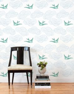 Daydream (Green) Removable wallpaper tiles - how cute would this be as the accent wall in your modern vintage nursery?