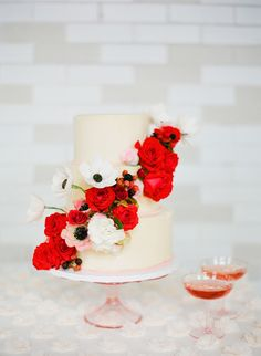 Red + Blush Wedding Inspiration || Wedding Cake || See more on SMP: http://www.StyleMePretty.com/2014/02/17/romantic-red-wedding-inspiration/ KT Merry Photography