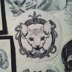 if I had a sfinx! stephiedasilva: Fixed the frame a bit. Tattoo Sketches, Tattoo Drawings, Sphinx Tattoo, Framed Tattoo, Sphinx Cat, Chest Tattoo, Tattoo Studio, Tattoo Designs, Artwork