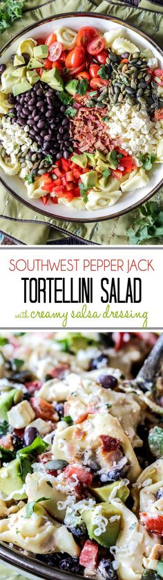 Make ahead, favorite potluck Southwest Pepper Jack Tortellini Salad = cheesy pillows of tortellini, sweet corn, black beans, avocado, bell peppers, etc. bathed in Creamy Salsa Dressing and garnished with bacon, Pepper Jack, sunflower seeds. Oh my YUM!