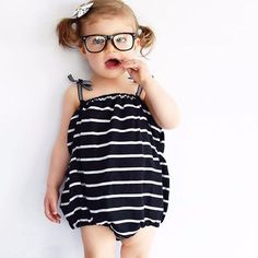 b8d20ca9ffe4 Baby Girl Black and White Cotton Striped Romper - Rompers - Little  TroubleMakers - TroubleMaker -