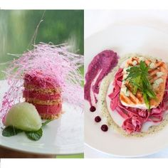 Pretty in pink! Lightly grilled salmon served  on pink tagliatelle, with beetroot and lentil hummus and buttery coriander sauce, followed by a pink cheesecake tower served with a sweet cucumber sorbet. Shafeeqa Effendi shows you how! #picknpay #recipe #freshlyblogged