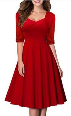 Womens Winter 1950's Vintage Pinup Red Skater Dress