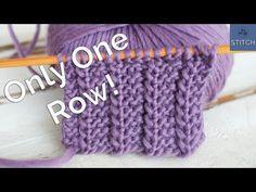 One Row Stitch Knitting Pattern For Beginners & einreihiges strickmuster für anfänger & & modèle de tricot à une rangée pour les débutants & patrón de tejido de punto de una fila para principiantes Knitting Stiches, Easy Knitting Patterns, Knitting Kits, Knitting Videos, Knitting For Beginners, Loom Knitting, Knitting Projects, Baby Knitting, Stitch Patterns