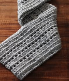 """Just in time for fall! Try the """"Riding the Rails"""" Ribbed Infinity Scarf pattern by Brooke Cassell with lion Brand Wool-Ease!"""