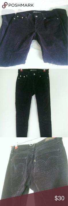 Levi's Corduroy Legging Jeans Levi's deep blue/purple (looks black in some lighting) corduroy legging jeans. Very comfortable and soft, great condition. Measurements: W26 L30, fits like a 3. Levi's Pants Wide Leg
