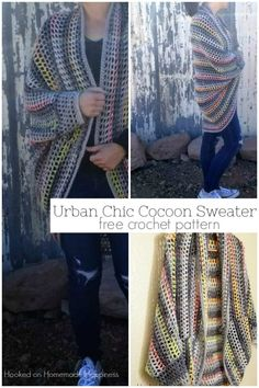 Urban Chic Cocoon Sweater - I really enjoy making cocoon sweaters. They're super easy to make and there are endless possibilities. Trust me when I say, any crocheter can make this Urban Chic Cocoon Sweater Crochet Pattern!